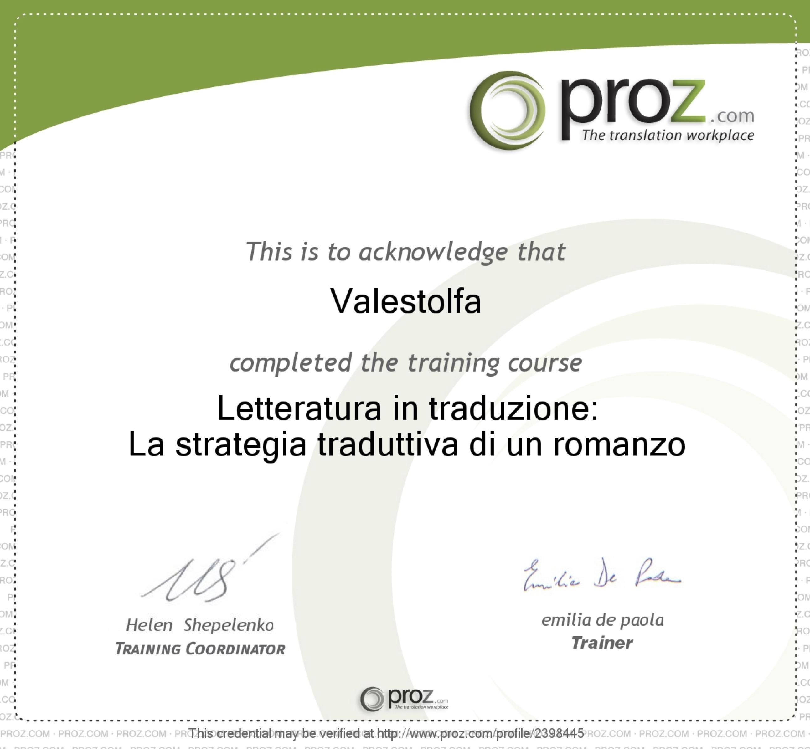 Proz certificate